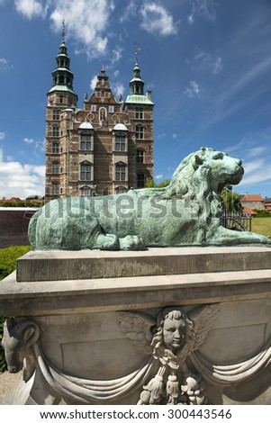 COPENHAGEN, DENMARK - Juny 26: Rosenborg Castle and park in central Copenhagen on Juny 26, 2015 Rosenborg Castle - former residence of Danish kings - stock photo