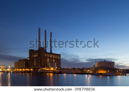 Copenhagen, Denmark - March 29, 2016: Svanemolle power plant by night