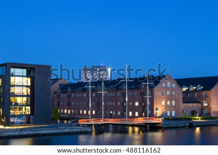 Copenhagen, Denmark - May 11, 2016: Nightshot of the Circle Bridge, a modern pedestrian and cyclist bridge