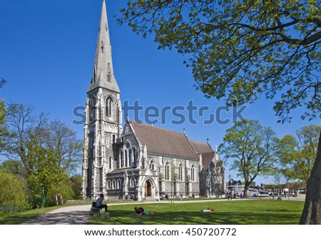 COPENHAGEN, DENMARK - MAY 9, 2016 - St. Alban's English Church in Copenhagen. It was built from 1885 to 1887 as a traditional English parish church in  Gothic Revival style.