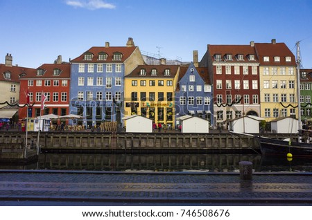 Copenhagen Denmark, November 9 2016, Nice colorful houses in the harbor, beautiful autumn day in the city