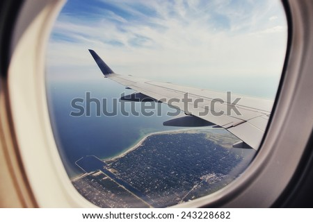 Copenhagen highangel view from plane.  - stock photo