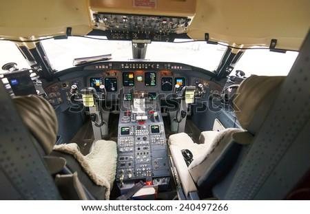 COPENHAGEN - SEPTEMBER 20: jet flight cockpit interior on September 20, 2014 in Copenhagen, Denmark. SAS, previously Scandinavian Airlines System, is the flag carrier of Denmark, Norway, and Sweden