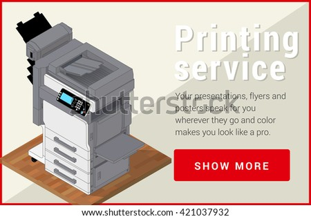 Copier printer isometric flat 3d illustration. illustration realistic printer and scanner. Printer flat icon.  - stock photo