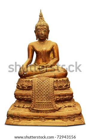 Copper Buddha sculpture - isolated - stock photo