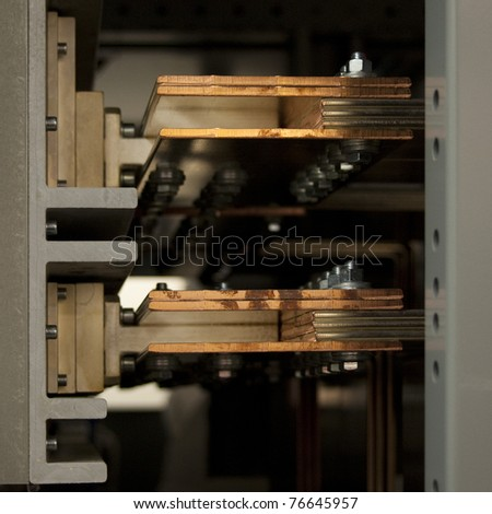 copper bus bars at a circuit breaker in a ampere transfer switch