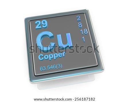 Copper. Chemical element. 3d - stock photo