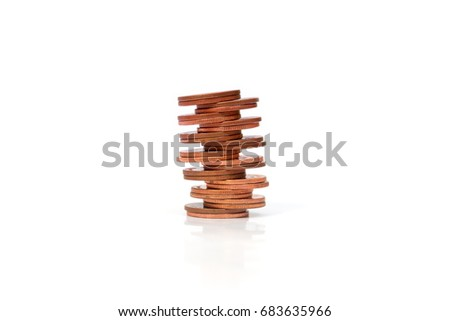 Copper coins, Money coins of on white background.