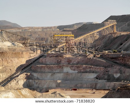 Copper extraction works in a mine in middle Chile - stock photo