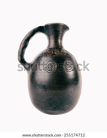 Copper jug for water and wine in antique style on white