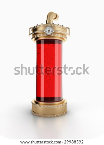 Copper laboratory bottle for experiments isolated on white background. - stock photo