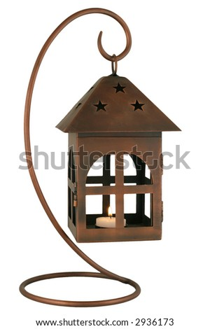 Copper Lantern - Candle holder on a hook isolated over white. - stock photo