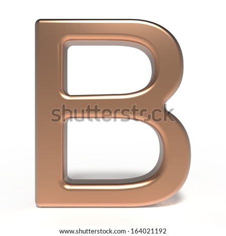 copper letter B isolated on white background - stock photo