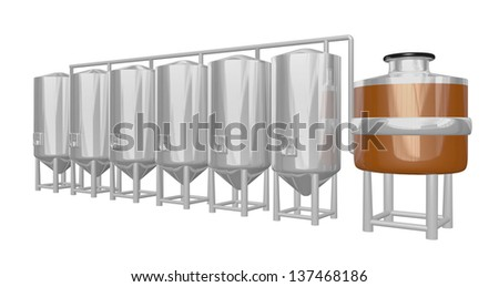 copper mash vat with multiple shiny tanks part of a beer brewery - stock photo