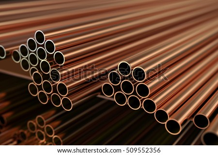 Copper metal. Warehouse copper pipes. 3d illustration.