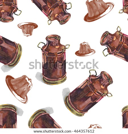 copper milk cans and cakes seamless pattern watercolor