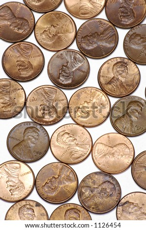 Copper Pennies on White Background