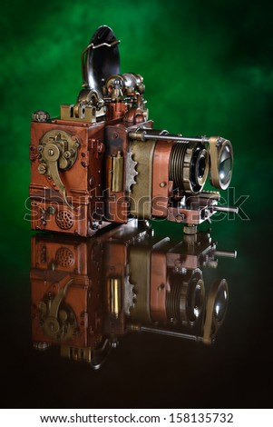 Copper Photo camera. - stock photo