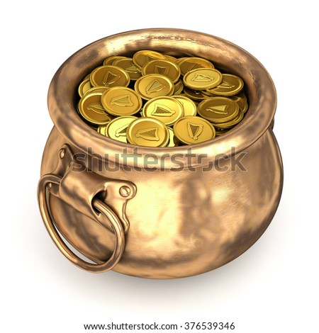 Copper pot with gold coins. Isolated on white - stock photo