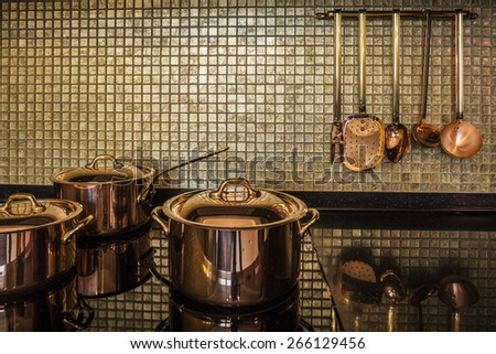 copper utensils luxury  Interior kitchen - stock photo