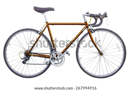 copper vintage road bike isolated - stock photo