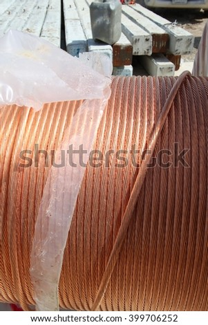 copper wire rope cable closeup