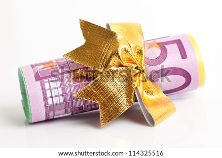 copulla of euro with golden bow - stock photo