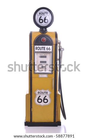 copy of a yellow vintage route 66 fuel pump isolated on white background - stock photo