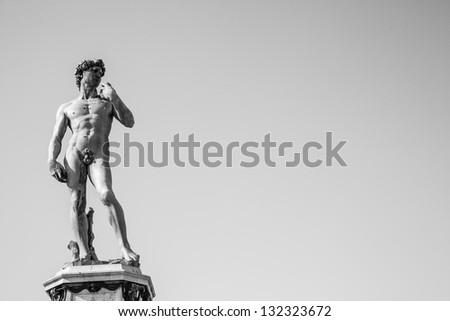 Copy of Michelangelo's David in Piazzale Michelangelo, Florence, Italy - stock photo