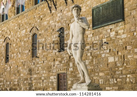 Copy of Michelangelo's David statue standing in its original location, in front of the Palazzo Vecchio at Piazza della Signoria in Florence, Italy