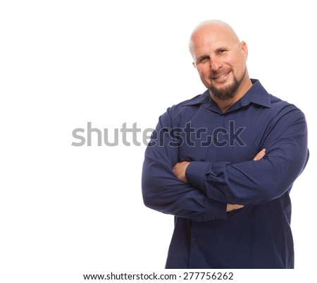Copy space and man with arms crossed. Portrait of bald, handsome young man isolated on white background.  - stock photo