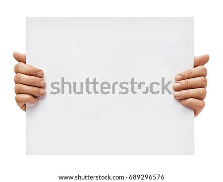 Hands Little Girl Holding Poster Space Stock Photo ...