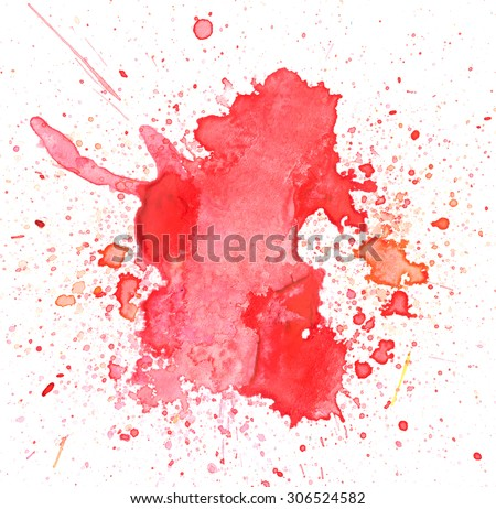 Copy space in red water color background splash