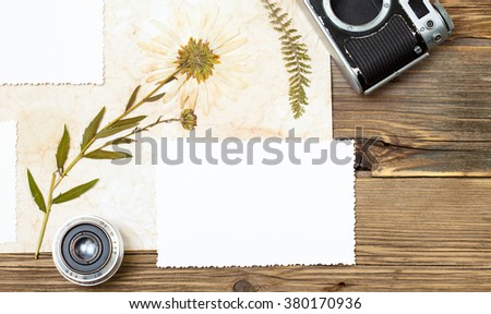 copy space photo, retro camera, lens, and pressed plant, herbarium on wooden table background