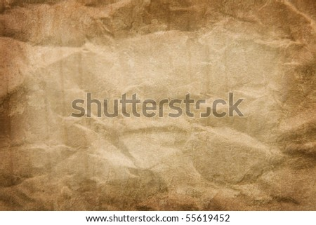 copy-space, texture of cardboard crumpled brown paper - stock photo
