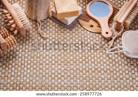 copyapce image classical bathroom accessories on vicker background  - stock photo