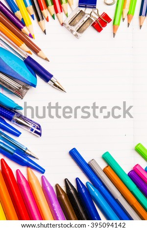 Copybook and stationery with copy space. Frame made of stationery