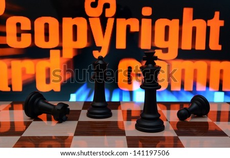 Copyright and chess concept - stock photo