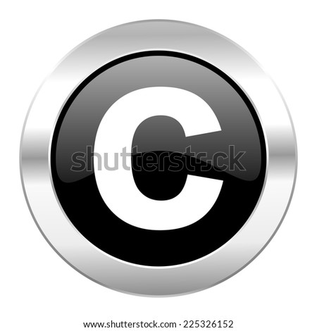 copyright black circle glossy chrome icon isolated