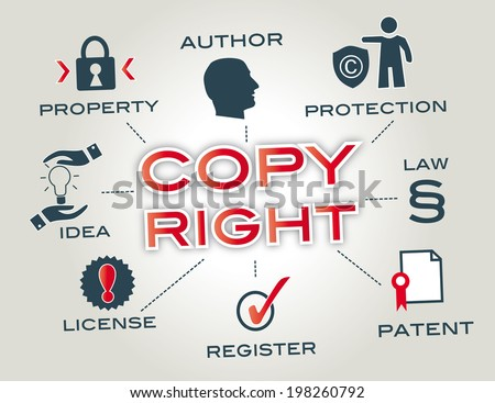 Copyright concept, Chart with keywords and icons - stock photo