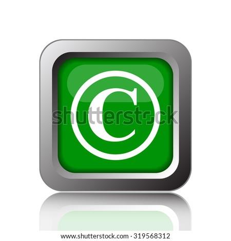 Copyright icon. Internet button on black background. - stock photo