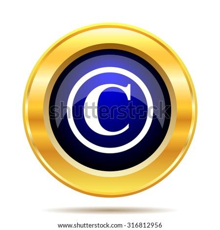 Copyright icon. Internet button on white background.  - stock photo