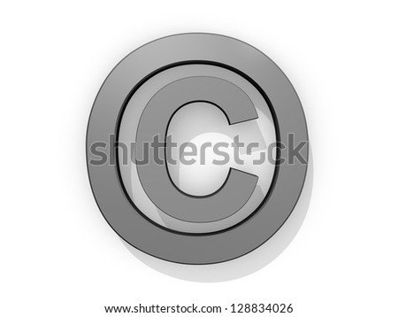Copyright icon on a white background. - stock photo