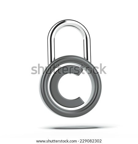 Copyright lock  - stock photo