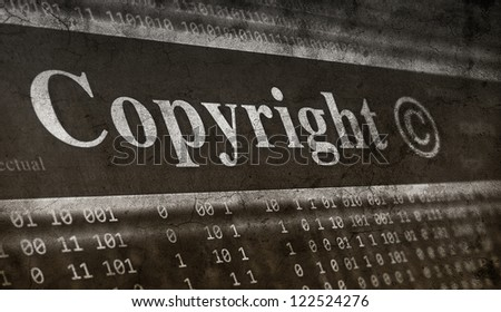 Copyright message concept. grunge background - stock photo
