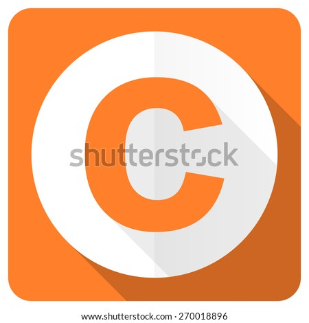 copyright orange flat icon   - stock photo