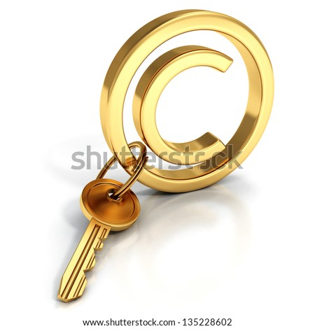 Copyright protect concept golden sign key - stock photo