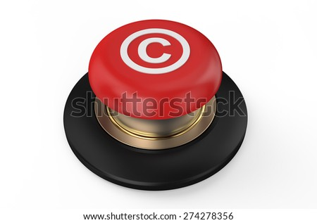 copyright red button isolated on white background - stock photo