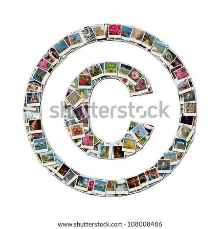 Copyright sign - conceptual illustration made like collage of travel photos, all photos are my own - stock photo