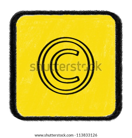 Copyright sign drawn with chalk - stock photo